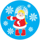 Snow Maiden on a round blue background Royalty Free Stock Image
