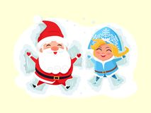 Snow Maiden and Santa Claus Making Angel on Snow. Icon isolated on white background. Vector illustration with Christmas characters having fun in deep snow Stock Image