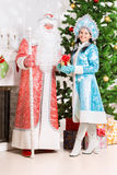 Snow maiden and santa claus Royalty Free Stock Images