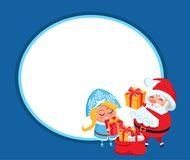 Snow Maiden and Santa Claus Vector Illustration. Poster with grandfather and granddaughter are unpacking gift boxes, isolated on dark blue background Royalty Free Stock Photos