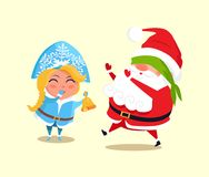 Snow Maiden and Santa Claus Vector Illustration. Snow Maiden and Santa Claus playing blind man s buffs icon isolated on white background. Vector illustration Stock Photography