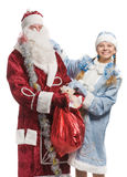 Snow maiden and Santa isolated in white Royalty Free Stock Image