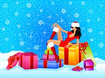 Snow Maiden and set of gifts with a bow Stock Photo