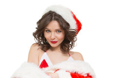 Snow Maiden Sexy. Santa Girl Stock Photo