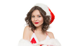 Snow Maiden sexy. santa girl Royalty Free Stock Photo