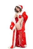 Snow Maiden sexy. santa girl Royalty Free Stock Photos