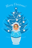 Snow maiden and shining Christmas fir tree. Postcard. Illustration Royalty Free Stock Photo