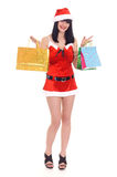 Snow maiden on shopping Royalty Free Stock Photo