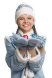 Snow maiden showing christmas-tree decoration Stock Photo