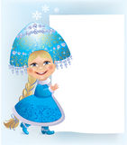 Snow Maiden sign. Maiden and the sign of the white paper.Contains transparent objects.Eps 10 Stock Photos