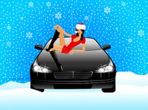 Snow maiden sits on car Royalty Free Stock Photography