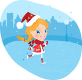 Snow Maiden on the skates in christmas costume Royalty Free Stock Photo