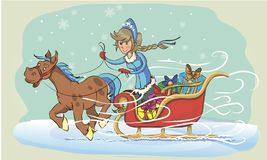 Snow Maiden on a sleigh. New Year greeting card with cartoon Father Frost and Snow Maiden. Christmas gift card with Santa Claus. Winter holiday Xmas postcard Stock Photo