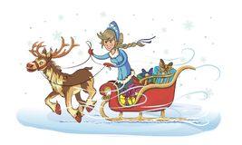 Snow Maiden on a sleigh. New Year greeting card with cartoon Father Frost and Snow Maiden. Christmas gift card with Santa Claus. Winter holiday Xmas postcard Royalty Free Stock Photos