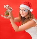 Snow Maiden with small fir-tree Royalty Free Stock Image