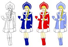 Snow Maiden in three colors. Object of Snow Maiden in three colors and contour Stock Photo