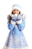 snow maiden on a white Stock Photography