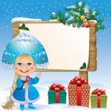 Snow Maiden wooden board.jpg Stock Photos