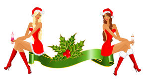 Snow Maidens and gifts Stock Image