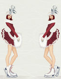 Snow-maidens. Vector illustration of two girls in fancy costume at ice rink Stock Photo