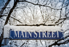 Snow On Main Street Stock Images