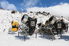Snow Makers. A group of Snow making machines ready to top up the ski fields Stock Photos