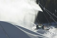 Snow makers and snow drifts Royalty Free Stock Photo