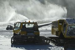 Snow making equipment. Ski area snow making equipment in operation Royalty Free Stock Photo