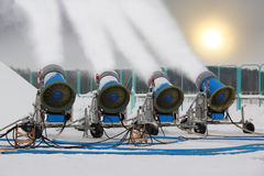 Snow-making guns Royalty Free Stock Image