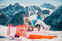 Snow making machine in the Dolomites Royalty Free Stock Image