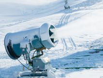 Snow making  machine in work. Snow making  at Afton Alps ski resort, Minnesota Stock Photography