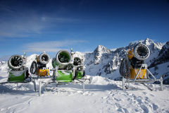 Snow Making Machines. In the mountains Stock Photography