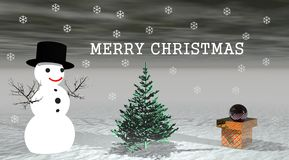 Snow man. And ball and tree Stock Photography