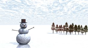 Snow man. With winter scenery Stock Photos