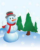 Snow man. On a background fir-trees Royalty Free Stock Photography