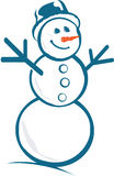 Snow Man. Vector image of a snow man with his arms in the air Stock Illustration