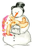 Snow Man. With a teddy vector illustration
