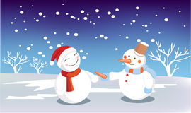Snow man. Giving nose to another with smile Royalty Free Stock Photography