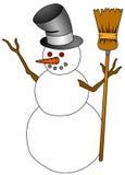 Snow Man. A snow man for the Christmas season.  A snow man holding a broom Stock Photography