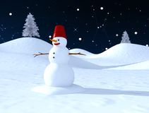 Snow man. With a blue  starry sky at the background Royalty Free Stock Photos