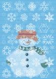 Snow man. Snowman with snowflakes on a Stock Photos