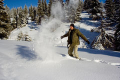 Snow and Man. A 31 years old caucasian man in the mountains Royalty Free Stock Images