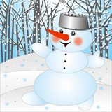 Snow man on a background winter landscape Stock Photo