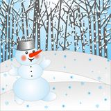 Snow man on a background winter landscape Stock Image