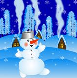 Snow man on a background winter landscape Royalty Free Stock Images