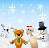 Snow man with beasts on a festive background Royalty Free Stock Photos