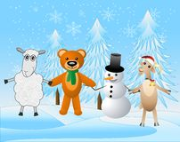 Snow man with beasts on a festive background Royalty Free Stock Photography