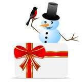 Snow man with a bird bullfinch and greeting-card vector illustration