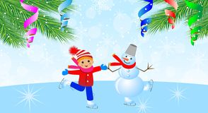 Snow man with boy on skates and branches of christmas tree Stock Photo