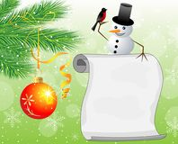 Snow man, branches of christmas tree and sheet of paper Royalty Free Stock Photo